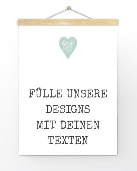 Poster selber gestalten - Personalisierter Poster - Schwarz- Weiss, Schwarz- Weiss mit Farbakzent oder mit deine Favoriten Trend Farbe wie Pastell grün