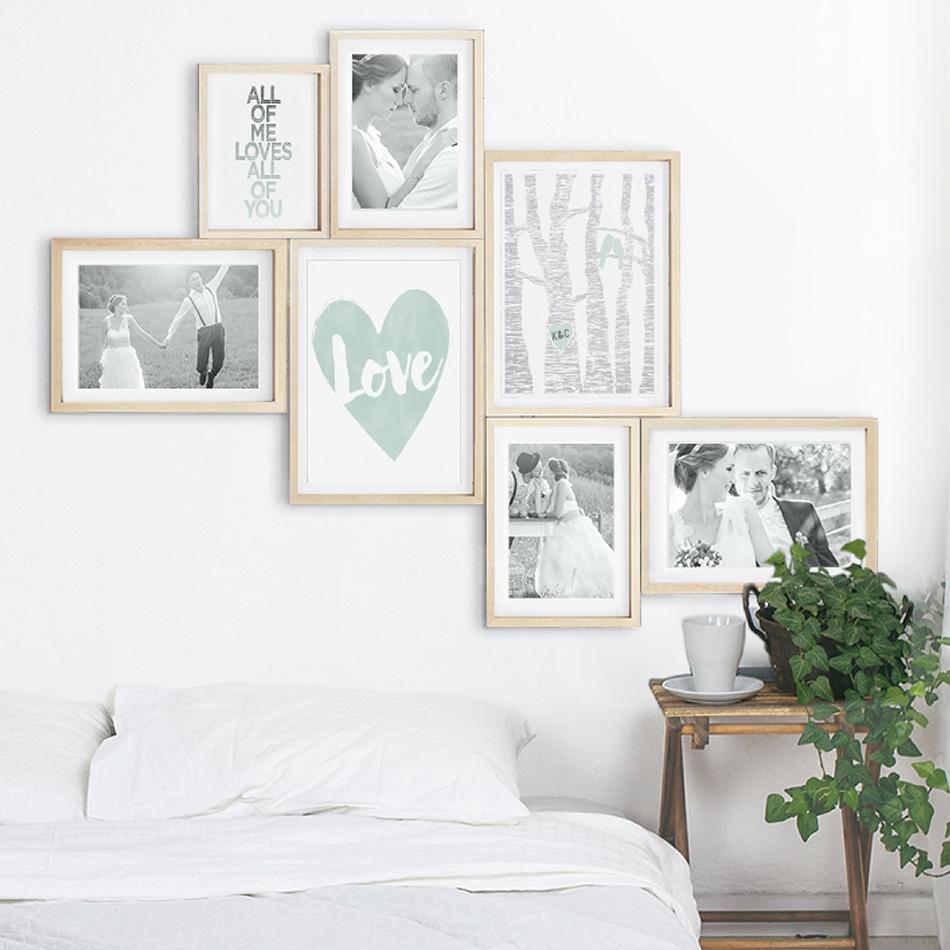 Foto Wandcollage mit personalisierter Poster | Pastel Grün | Printcandy