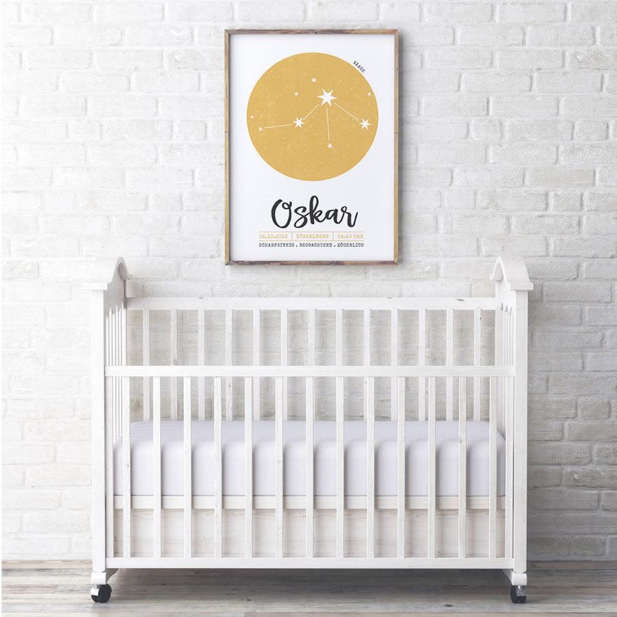 Sternzeichen Geburt Poster personalisieren und selber gestalten