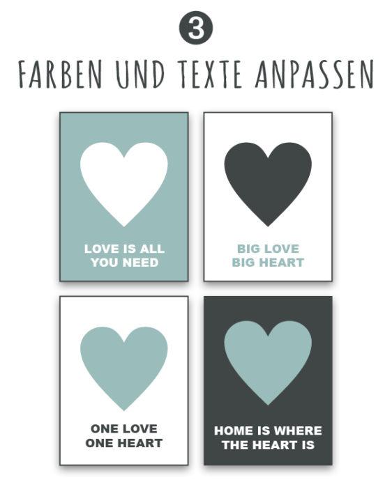 poster selbst gestalten - online poster personalisieren -texte und farbe anpassen