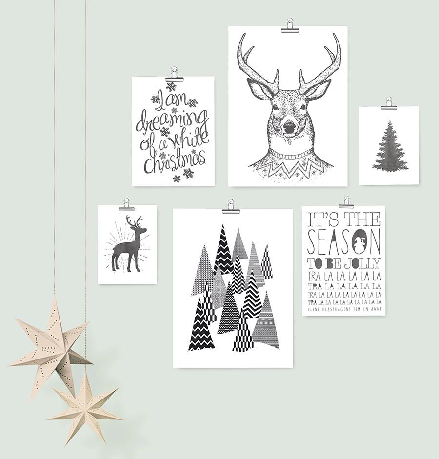 Poster Set zu Weihnachten -6 verschiedene Designs- Schwarz-Weiß Dekoration - Printcandy