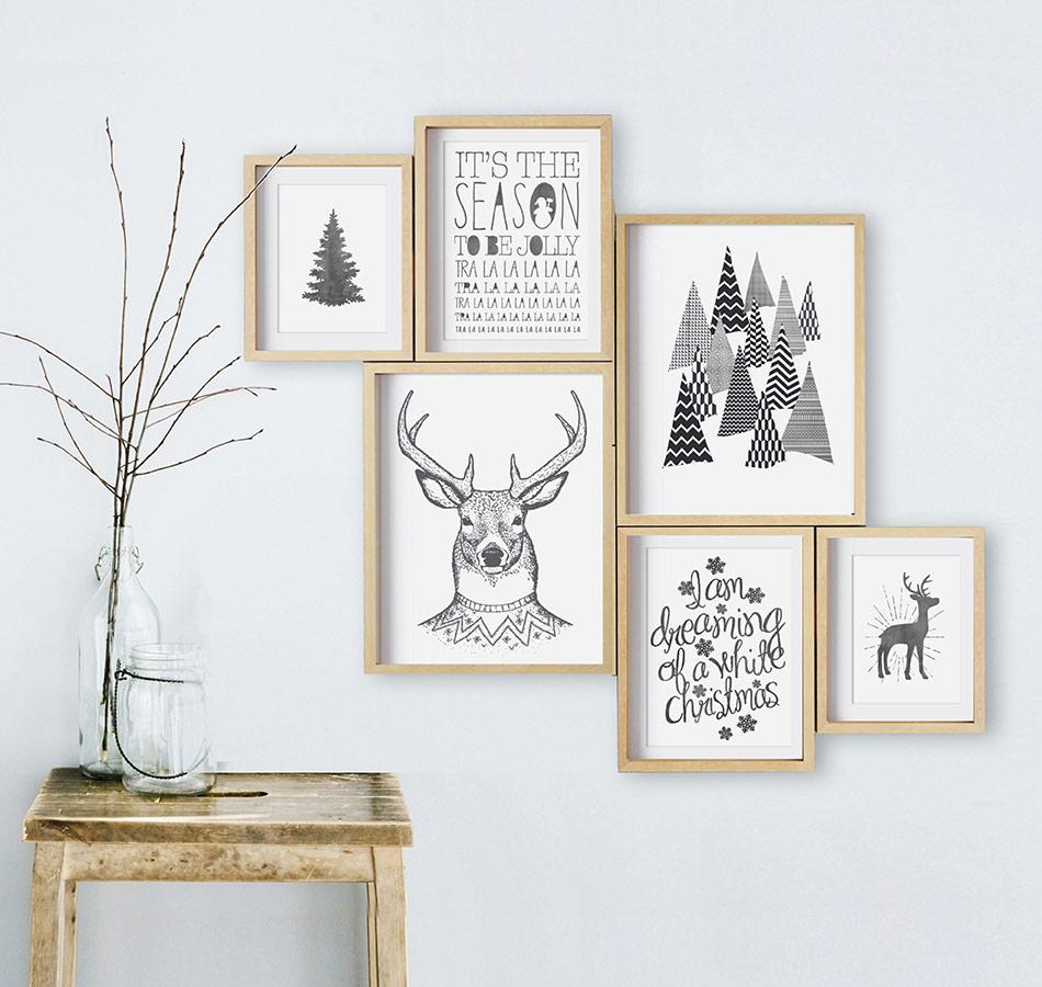 Poster zu Weihnachten - Schwarz-Weiß Dekoration - Printcandy
