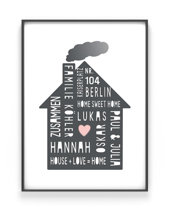 Home Sweet Home Poster | Personalisiert | Schwarz Weiss mit Rosa