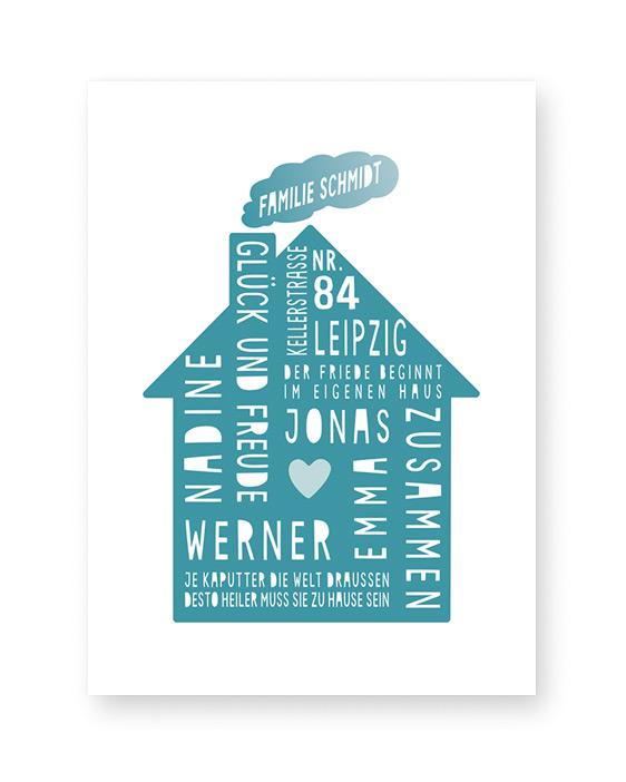Personalisierter-Home-Sweet-Home-Poster-mit-dem-Design-von-einem-Haus-Mint. Poster / art-prints online selber machen bei Printcandy