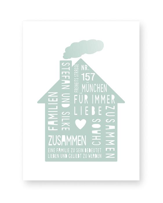 Home Sweet Home Poster | Personalisiert | Mint Grün | Printcandy