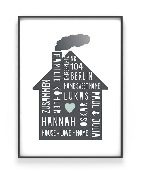 Home Sweet Home Poster | Personalisiert | Schwarz Weiss mit Minz | Printcandy