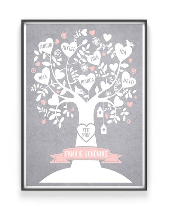 Familienstammbaum | Personalisiert | Grau mit Rosa