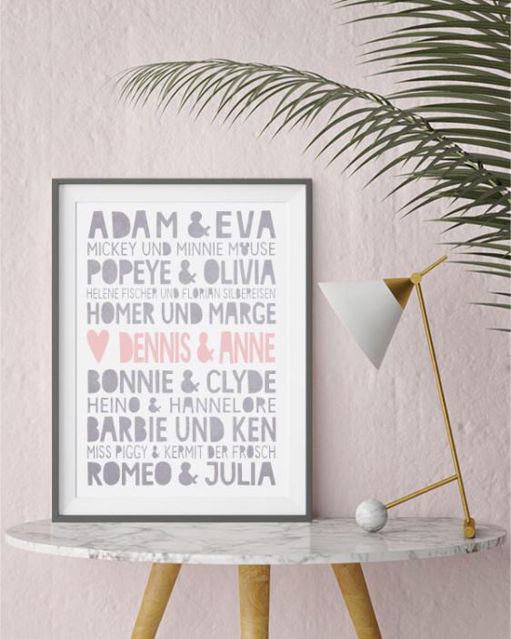 Famous Love Poster - Printcandy - in nur 3 Schritten- selbst gestalten mit eigenen Namen!