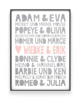 Famous Love Poster   Personalisiert   Grau mit Rosa