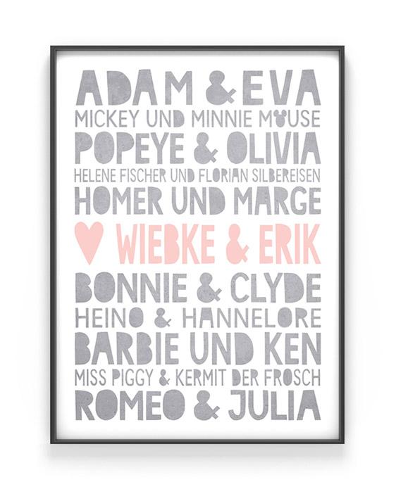 Famous Love Poster | Personalisiert | Grau mit Rosa | Printcandy