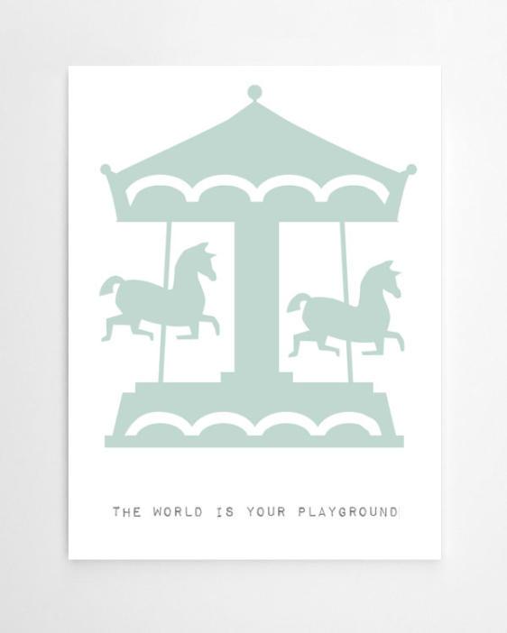 Kinderposter Karussell - Personalisierter Kunstdruck