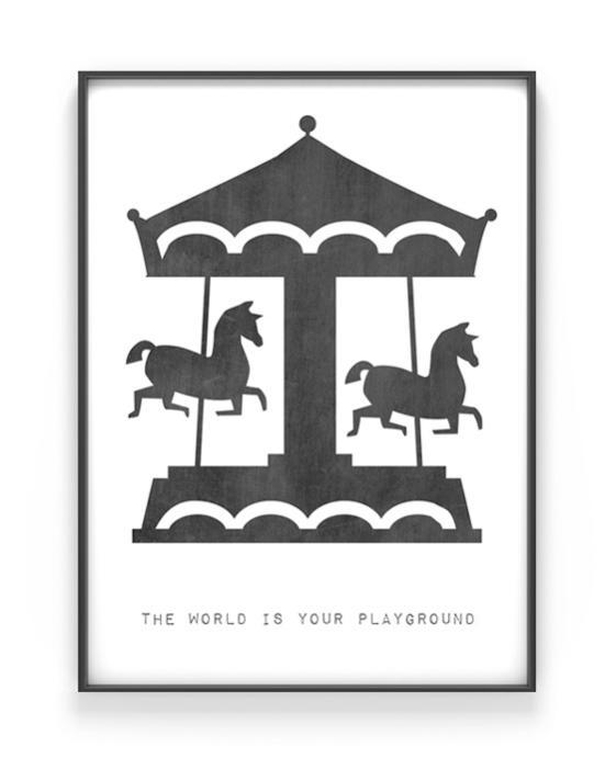 Kinderposter Karussell - Personalisierter Schwarz-Weiss Kunstdruck