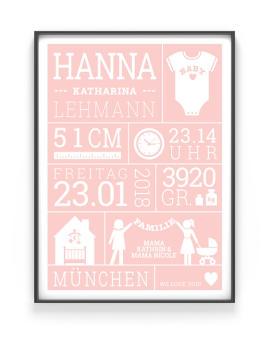 Baby Geburtsposter | Personalisiert | Rosa