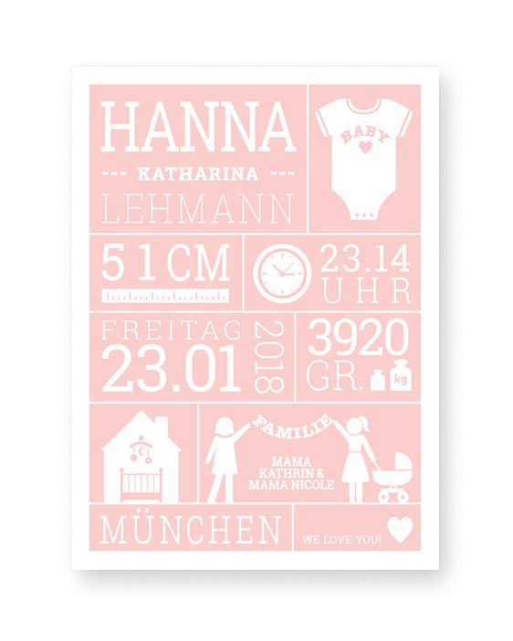 Baby Geburtsposter | Personalisierte Poster zur Geburt für Mädchen | Rosa | Printcandy