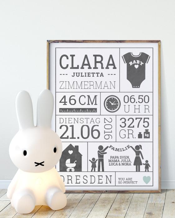 Geburtsposter - Schwarz Weiss - Wanddekoration Babyzimmer - Personalisierter Poster