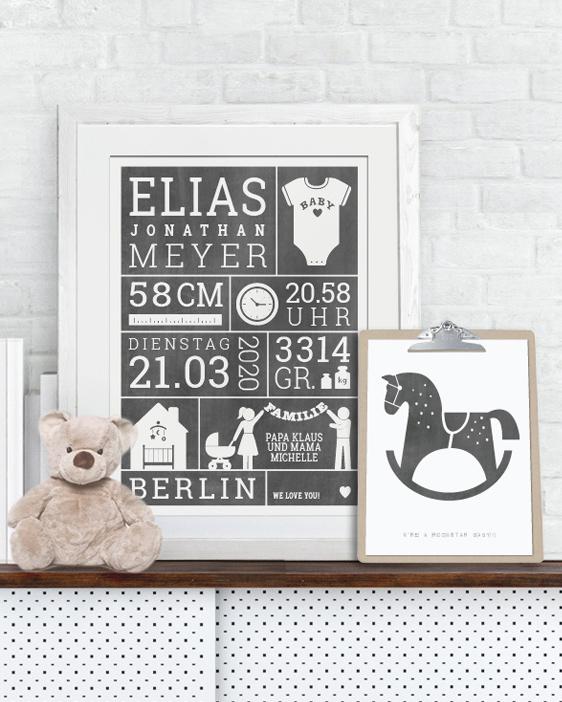 Baby Geburtsposter | Personalisierte Poster zur Geburt mit eigenen Daten | Printcandy