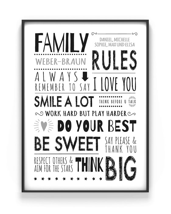 Familienregeln Poster | Personalisierte Familien Poster mit Namen | Printcandy