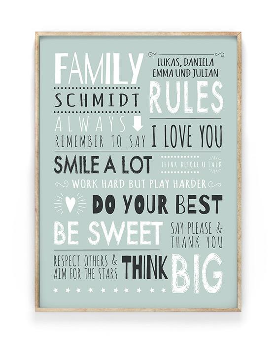 Familienregeln Poster | Personalisiert mit eigenem Namen | Printcandy