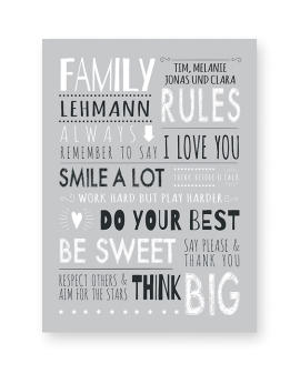 Familienregeln Poster | Personalisiertes Familien Poster | Printcandy