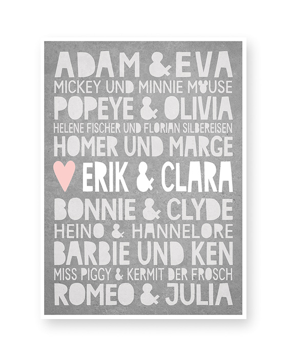Famous Love | Personalisiertes Liebesposter mit berühmte Paare und euren Namen | Printcandy