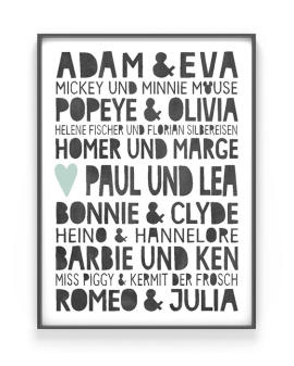 Famous Love Poster | Personalisiertes Poster mit berühmte Liebespaare | Printcandy