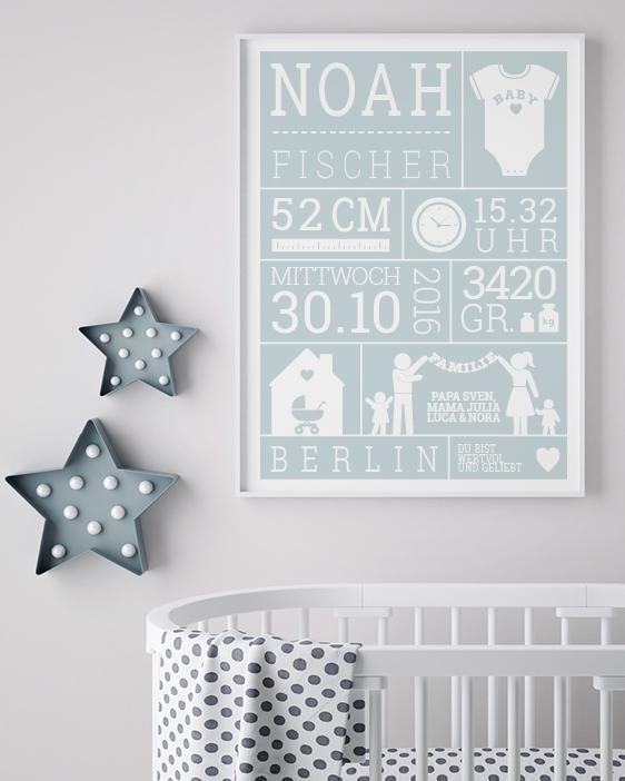 Baby Geburtsposter - Blau - Wanddekoration Babyzimmer