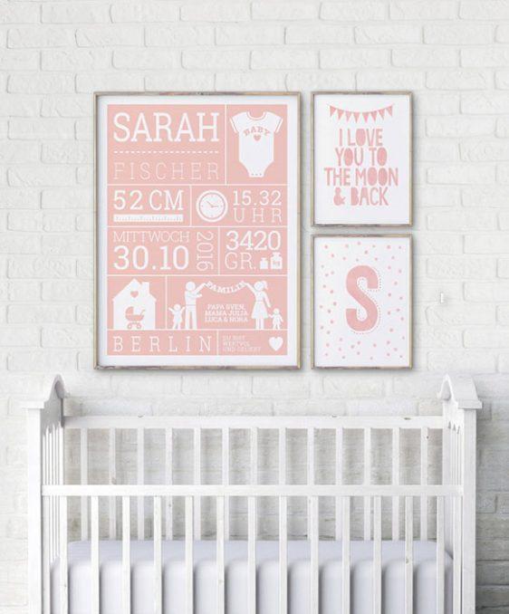 Geburtsposter - Rosa - Wanddekoration Babyzimmer