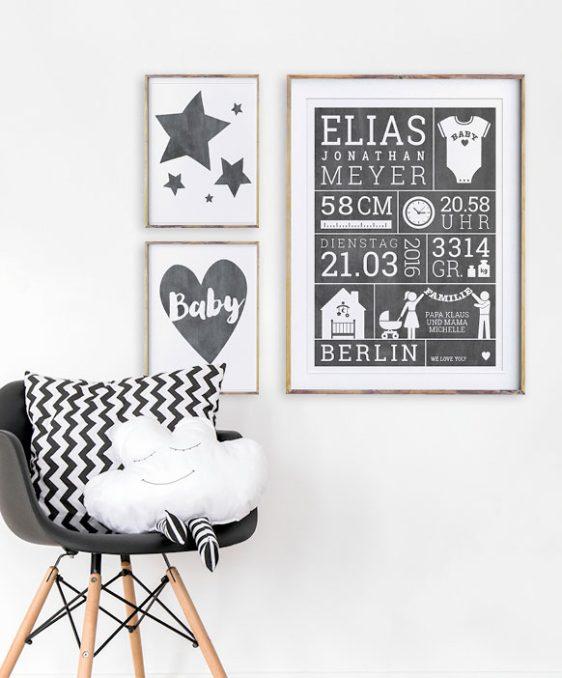 Baby Geburtsposter - Schwarz Weiss - Wanddekoration Babyzimmer
