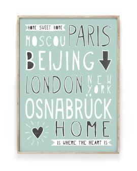 Hometown Poster | Personalisiert mit berühmten Hauptstädten und Deinem Lieblingsort | Printcandy