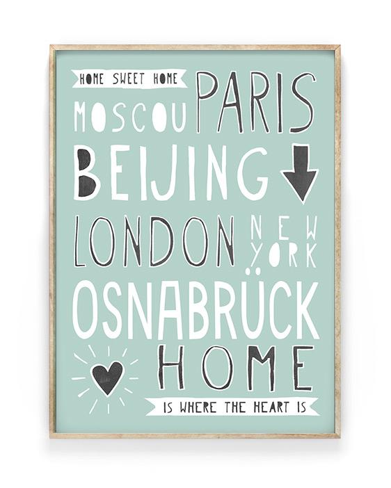 Hometown Poster   Personalisiert mit berühmten Hauptstädten und Deinem Lieblingsort   Printcandy