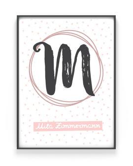 Kinderposter Buchstabe | Personalisiert | Schwarz Weiss mit Rosa