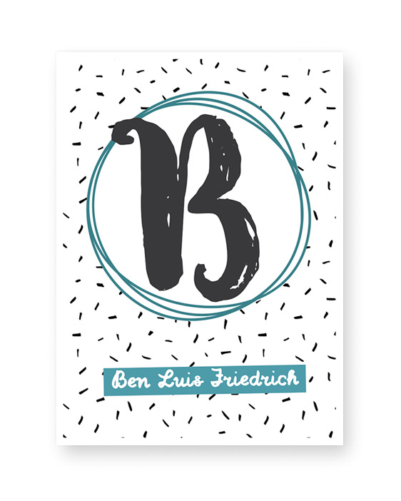 Kinderposter Buchstabe personalisiert mit Name im Schreibschrift | Printcandy
