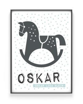 Artprint Schaukelpferd | Personalisiert | Rosa