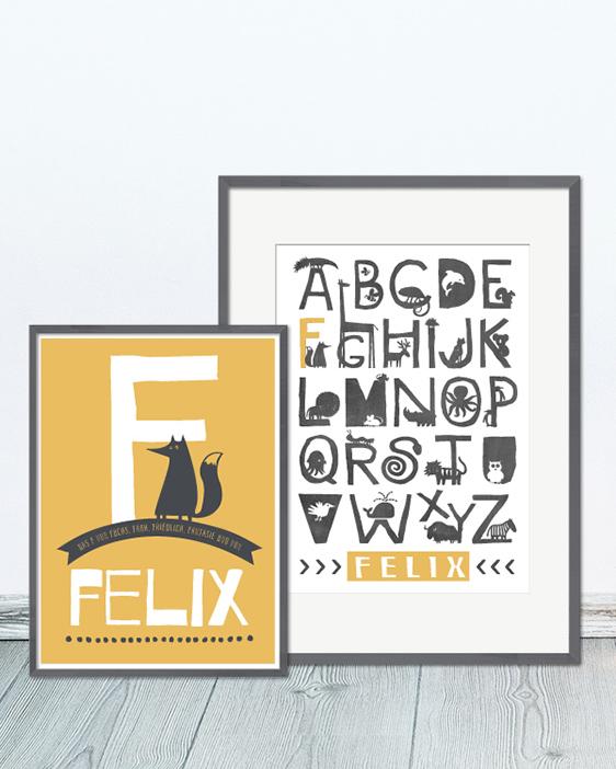 Namenposter Tiere | Personalisierte Kinder Postermit Buchstaben | Printcandy