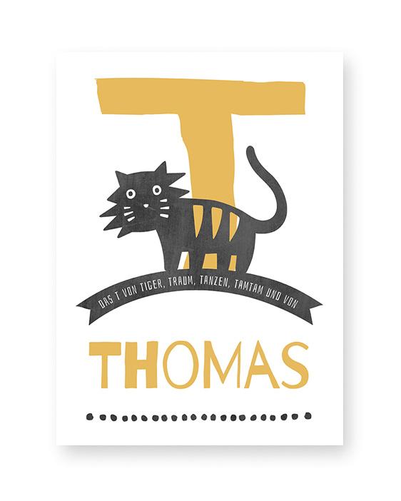 Namensprint Tiere | Individuelle ABC Poster personalisiert mit Buchstabe | Printcandy
