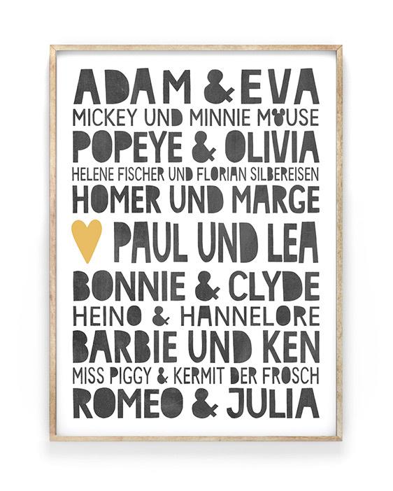 Famous Love Poster mit berühmte Liebespaare | Personalisierbar | Printcandy
