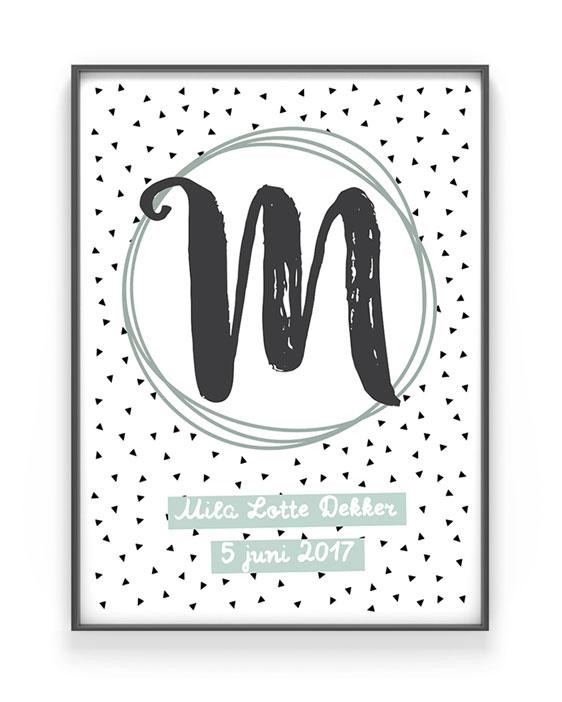 Kinderposter Buchstabe | Personalisiert | Schwarz Weiss mit Minz | Printcandy