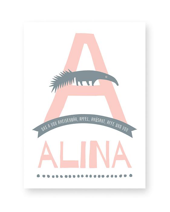 Personalisiertes Namensposter mit Buchstaben | Kinderzimmer Tiere Poster | Printcandy