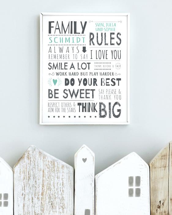 Personalisiertes Familienregeln-Poster mit eigenem Namen | Printcandy