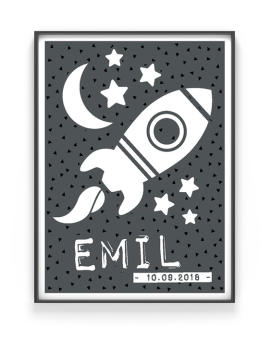 Scharz weiß -To the Moon- poster mit dem Bild von einer Rakete für kinderzimmer.Personalisierter Poster / Kunstdruck online selber machen bei Printcandy