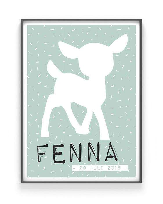 Reh Poster - Personalisierter Kinderzimmer Art-Prints online selber gestalten bei Printcandy