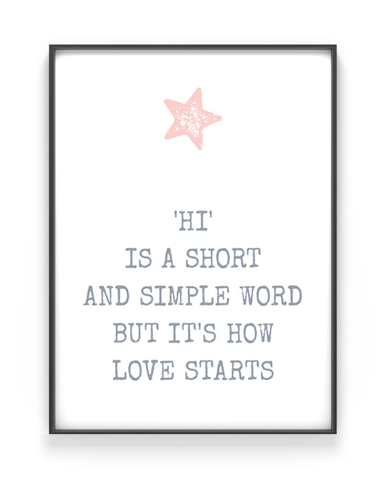 Stern Print mit Deinem Text | Personalisiert | Grau mit Rosa