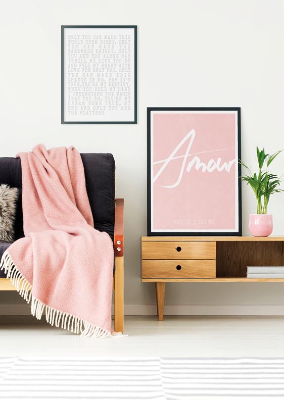 Wanddekoration mit Sprüche und Zitat Postern- rosa- Printcandy