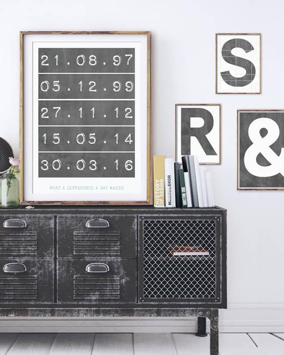 Personalisiere hier das Typografie Print- Special Dates Poster von Printcandy-Wandcollage-monochrom-schwarz-weiss