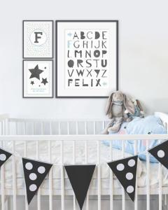Wanddekoration Babyzimmer - Personalisierter Poster - Schwarz- Weiss, Schwarz- Weiss mit Farbakzent oder mit deine Favoriten Trend Farbe wie Pastell grün - Online selber gestalten bei Printcandy