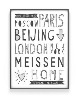 Hometown Poster | Personalisiertes Poster mit Deinem Lieblingsplatz / Wohnort | Printcandy