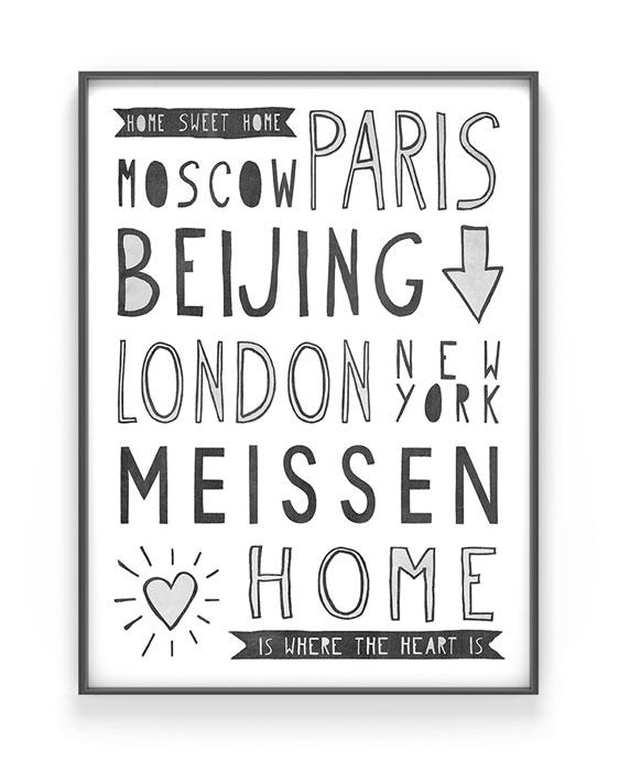 Hometown Poster   Personalisiertes Poster mit Deinem Lieblingsplatz / Wohnort   Printcandy
