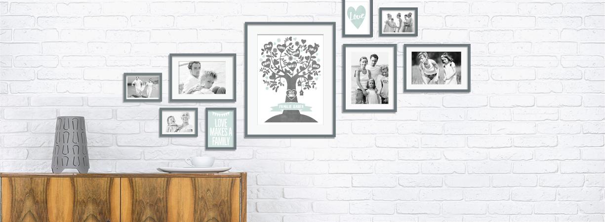 Wandcollage kombiniert mit Fotos