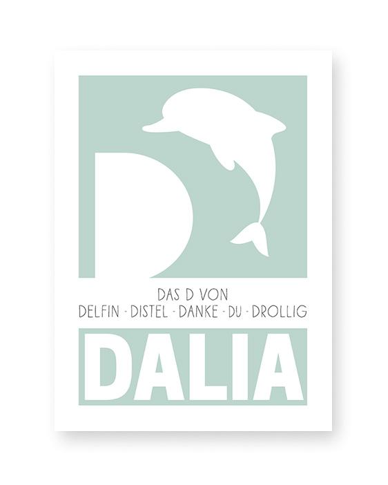 Personalisiertes Namensposter Mädchen mit Buchstaben D | Printcandy