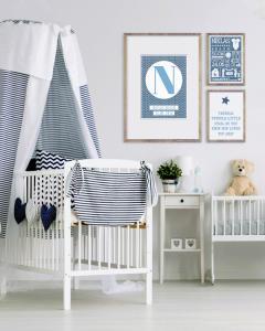 Wanddekoration Babyzimmer - Personalisierter Poster - Schwarz- Weiss, Schwarz- Weiss mit Farbakzent oder mit deine Favoriten Trend Farbe wie Blau - Online Poster selber gestalten bei Printcandy